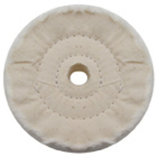 "(PACK) 4"" WHITE SPIRAL & CONCENTRIC SEWED MUSLIN WHEEL - 40 PLY. & 5/8"" ARBOR"