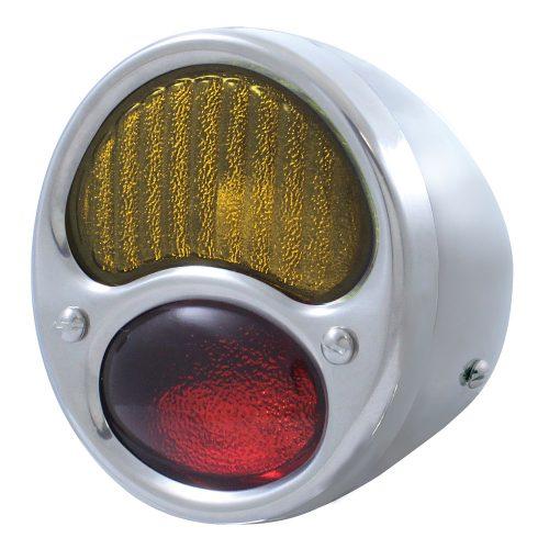 (BULK)28-31 ECON SS TAIL LIGHT RED/AMBER GLASS LENS 6 VOLT (R/H)