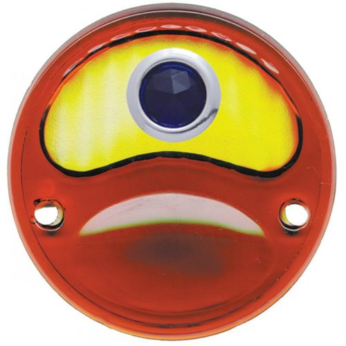 (BULK)1928-31 AMBR/RED TAIL LIGHT GLASS LENS W/ BLUE DOT