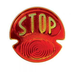 "(BULK)1928/31 RED TAIL LIGHT GLASS LENS W/ ""STOP"" SCRIPT"
