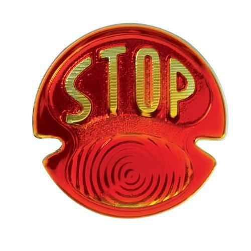"(BULK)1928/31 RED TAIL LIGHT GLASS LENS W/ ""STOP"" SCRIPT"
