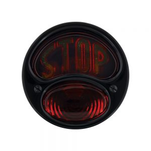 "(BOX) INCANDESCENT ""DUO LAMP"" TAIL LAMP WITH ALL BLACK HOUSING - STOP LENS - R/H"