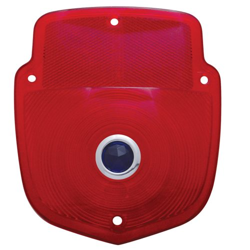 (BULK)1953-56 RED TAIL LIGHT PLASTIC LENS W/BLUE DOT
