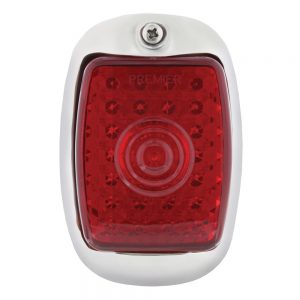 (BOX)45 RED + 6 WHITE LED 1937-38 CHEVY DRIVER TAIL LIGHT W/BLACK HOUSING-RED LENS
