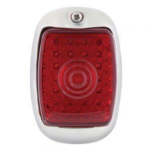 (BOX)45 RED LED 1937-38 CHEVY PASSENGER TAIL LIGHT W/BLACK HOUSING-RED LENS