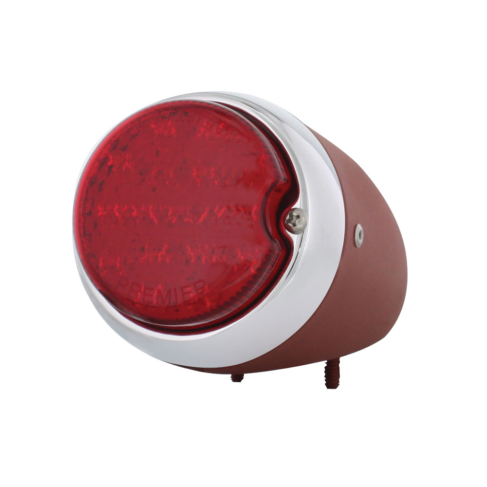 (BOX)17 RED LED 1939 CHEVY TAIL LIGHT W/ PRIMERED HOUSING PASSENGER SIDE - RED LENS