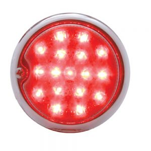 (BOX)17 RED LED 1939 CHEVY TAIL LIGHT W/ CR HOUSING DRIVER SIDE - RED LENS