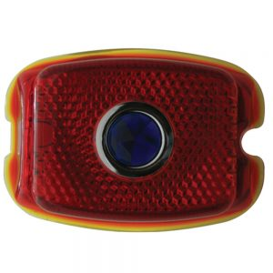 (BULK)1937-38 RED GLASS INCANDESCENT TAIL LIGHT LENS W/BLUE DOT
