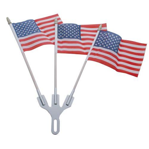 (CARD) CHROME FLAG HOLDER W/ 3 U.S.A. FLAGS