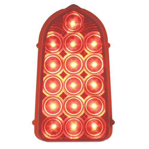 (CARD)16 RED LED 1949-1950 CHEVY TAIL LIGHTT LENS - RED LENS