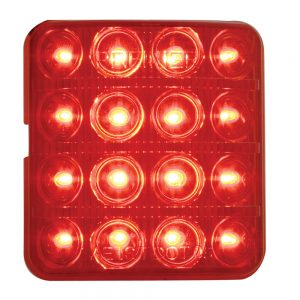 (CARD)16 RED LED 1951-1952 CHEVY TAIL LIGHT LENS - RED LENS