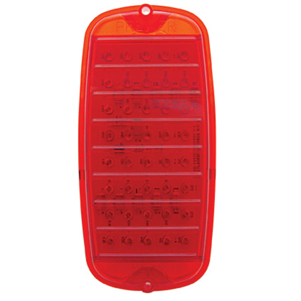 (CARD) 40 RED LED 1960-66 CHEVY TRUCK FLEETSIDE TAIL LIGHT-RED LENS