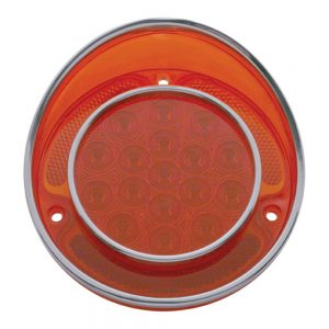 (CARD)17 RED LED 1968-73 CHEVY CORVETTE TAIL LIGHT W/ SS RIM -  RED LENS