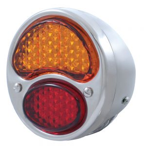 (CARD)12 AMBER+7 RED+4 WHITE LED 1928-1931 FORD TAIL LT W/HOUSING - AMB/RED/CLR LENS (6V)