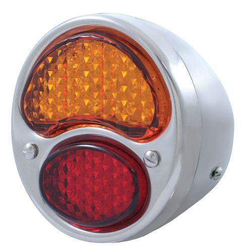 (CARD)12 AMBER+7 RED LED 1928-1931 FORD TAIL LIGHT W/HOUSING - AMBER/RED LENS (6V)