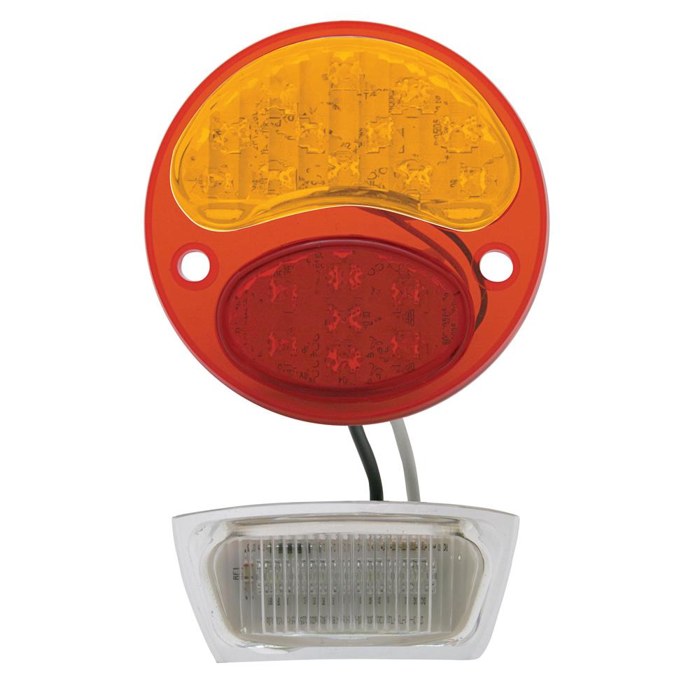 (CARD)12 AMBER+7 RED+4 WHITE LED 1928-1931 FORD TAIL LIGHT - AMBER/RED/CLEAR LENS (6V)