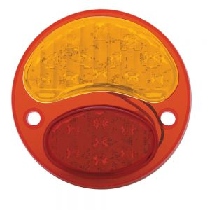 (CARD)12 AMBER+7 RED LED 1928-1931 FORD TAIL LIGHT - AMBER/RED LENS (6V)
