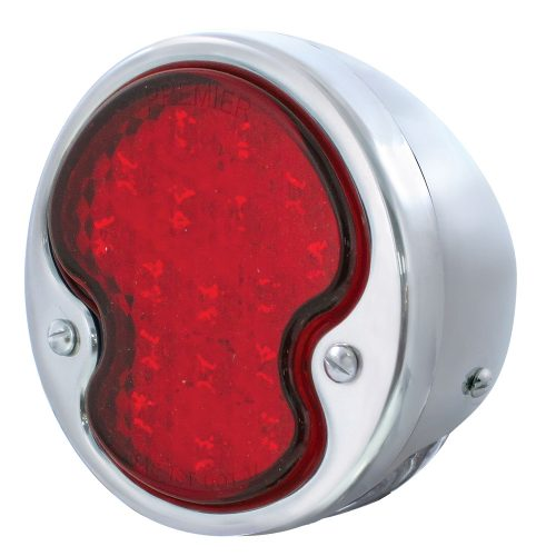 (CARD)17 RED+4 WHITE 1932 FORD LED TAIL LIGHT W/ HOUSING - RED/CLEAR LENS (12V)