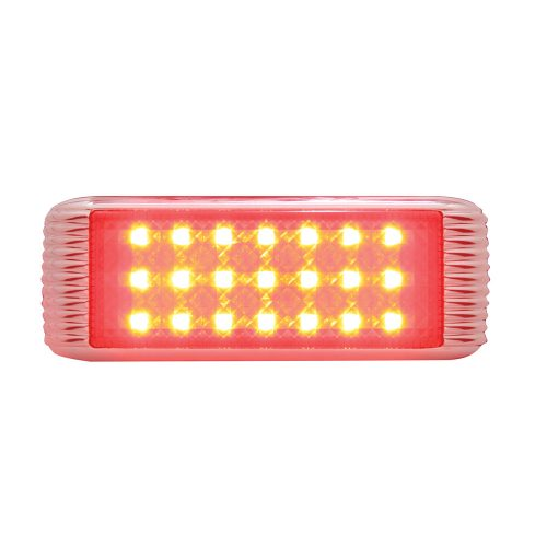 (CARD) 21 RED LED FLUSH MOUNT S/T/T & P/T/C LIGHT WITH BEZEL - RED LENS